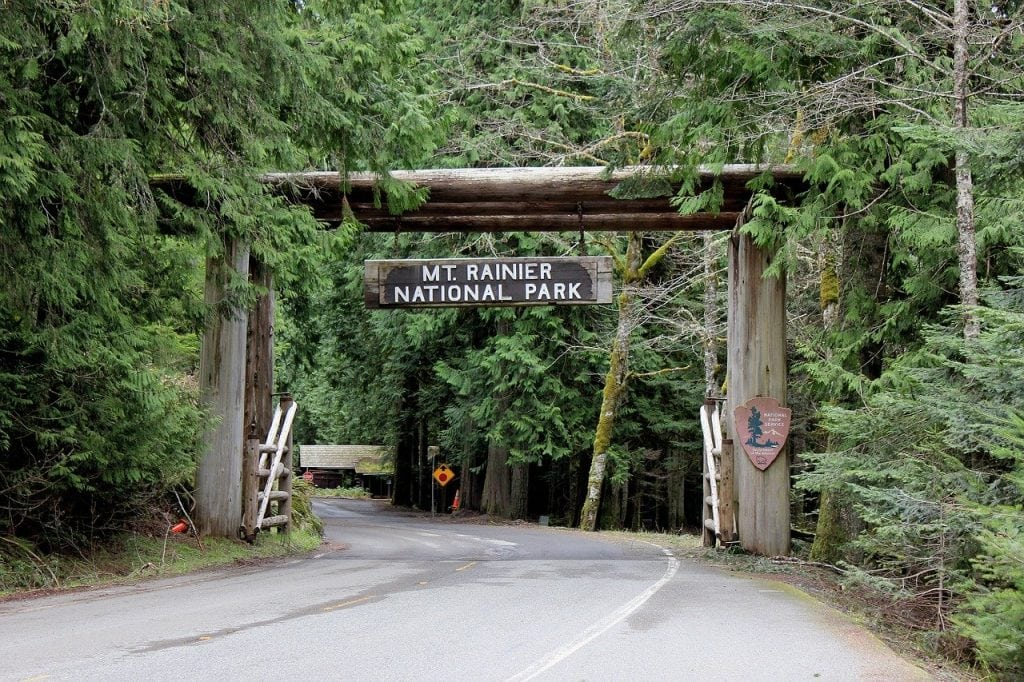 Entrance to Mt Rainier National Park in Washington State