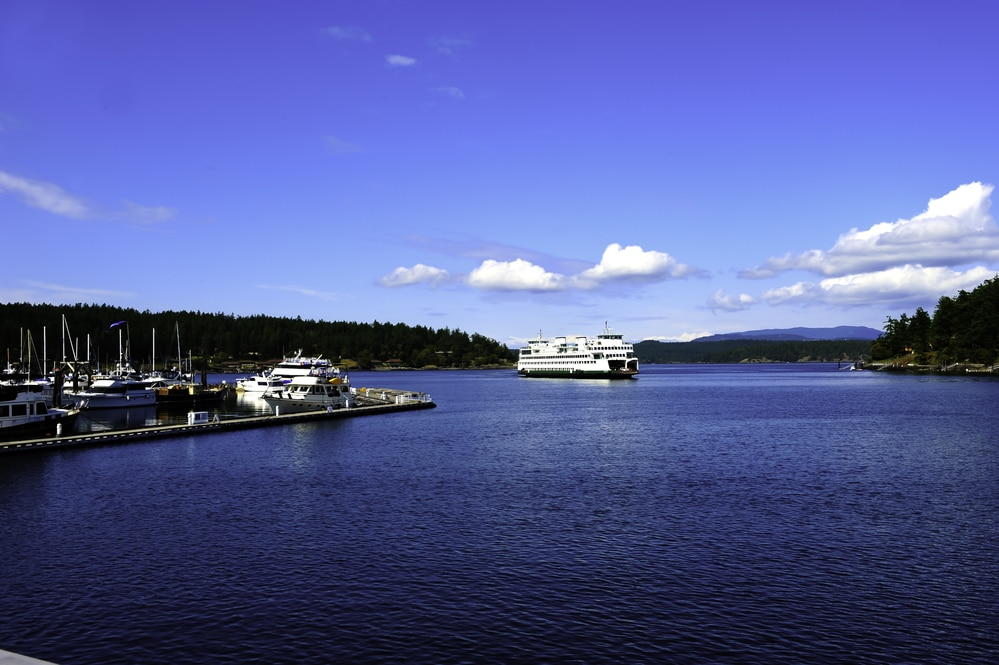 Ferry going into Friday Harbor in the San Juan Islands.
