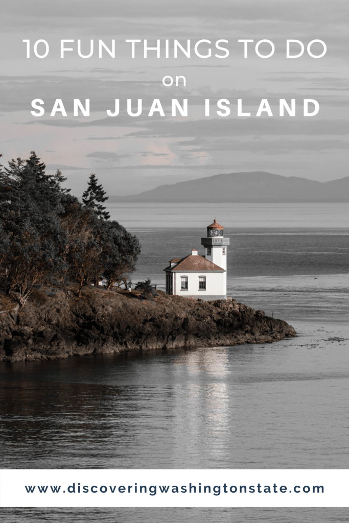 pinterest pin with a photo of lime kiln lighthouse on san juan island